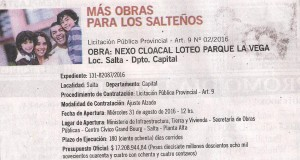 Obra: Nexo cloacal loteo Parque La Vega - Salta Capital Licitación Pública Provincial Art. 9 Nº 2/16