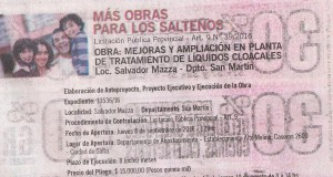 Obra: Mejoras y ampliación en planta de tratamientos de líquidos cloacales - Dto San Martín Licitación Pública Provincial Art. 9 Nº 39/2016