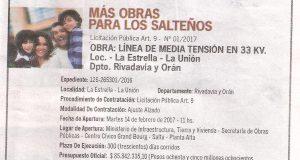 Obra: Línea de Media tensiión en 33 KV. Loc. La Estrella La Unión Dpto. Rivadavia y Orán 2017.