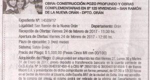 Obra: Construcción Pozo Profundo y Obras Complementarias en Bº  125 Viviendas San Ramón de la Nueva Orán 2017.