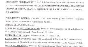 Obra: Reordenamiento Urbano del Área Centro Ciudad de Salta Etapa I: Corredor de la Fe, Caseros - Alberdi-  Juramento - 2017.