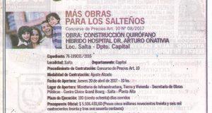 Obra: Construcción Quirófano Híbrido Hospital Dr. Arturo Oñativia – Loc. Salta Dpto. Capital