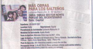 Obras Sector Norte Parque del Bicentenarios Dpto. Capital