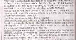 """Obra: Estudio de Impacto Ambiental y Social de la obra """"Proyecto y Ejecución de duplicación de calzadas Ruta Provincial Nº 26 Tramo Empalme Av. Tavella Acceso Bº Solidaridad."""