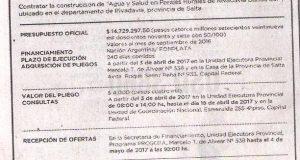Obra: Construcción de Agua y Salud en Parajes Rurales de Rivadavia Banda Sur ubicado en el Dpto. Rivadavia Salta
